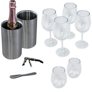 Wine Cabinet Accessory Kit - 6 Glass/2 Chiller with Knife and Corkscrew