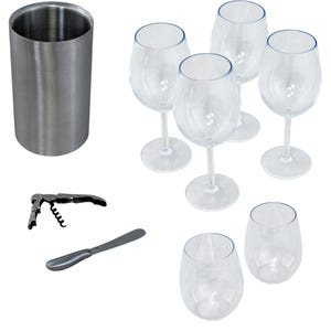 Wine Cabinet Accessory Kit- 6 Glass/1 Chiller with Knife and Corkscrew