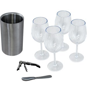 Table Topper Accessory Kit - 4 Glass/1 Chiller with Knife and Corkscrew