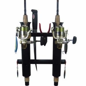2 Rod Deluxe Fishing Rod Holder Rack Black