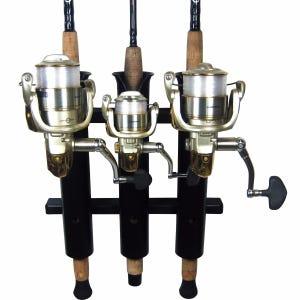 3 Rod Compact Fishing Rod Holder Rack Black