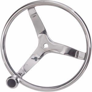 """3 Spoke Stainless Steel Steering Wheel - 15-1/2"""""""