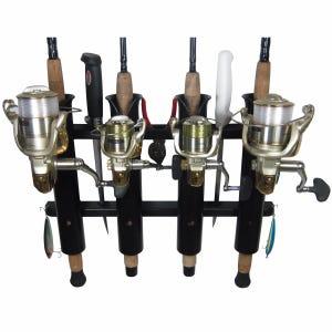 4 Rod Deluxe Fishing Rod Holder Rack Black