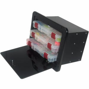 Black Acrylic Tackle Box with 3 Plano Trays