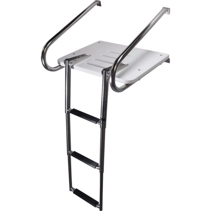 Boat Inboard Teak Swim Platform with 3-steps Stainless Telescopic Ladder Transom