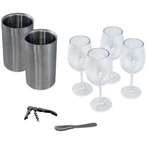 Table Topper Wine Accessory Kit - 4 Glass/2 Chiller with Knife and Corkscrew