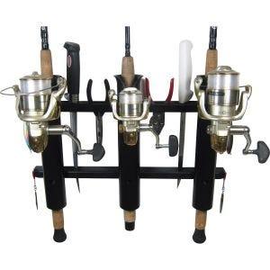 3 Rod Deluxe Fishing Rod Holder Rack Black