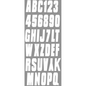 Block Style Boat Lettering Decals/Registration Numbers Kit - White