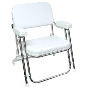 Folding Deck Chair - White
