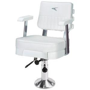 Ladder Back Helm Chair with Adjustable Pedestal and Seat Slide