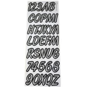 Smooth Cursive Boat Lettering Decals/Registration Numbers Kit - Black/Silver