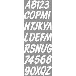 Smooth Cursive Boat Lettering Decals/Registration Numbers Kit - White