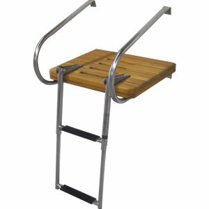 Inboard Outboard Teak Swim Platform with 2 Step Ladder