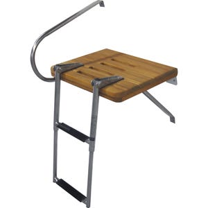 Outboard Teak Swim Platform with 2 Step Ladder