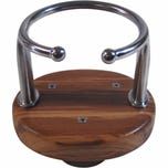 Single Stainless Steel Boat Drink Holder with Suction Cups - Teak